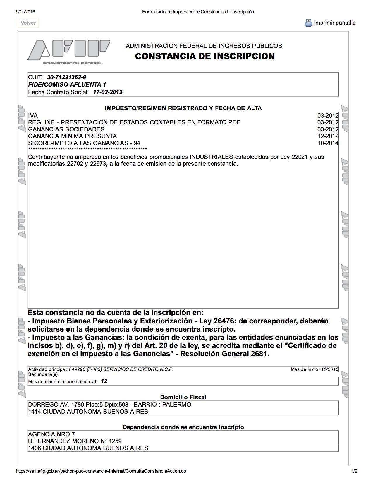 Inscripciones legales afluenta argentina for Inscripcion ingresos brutos